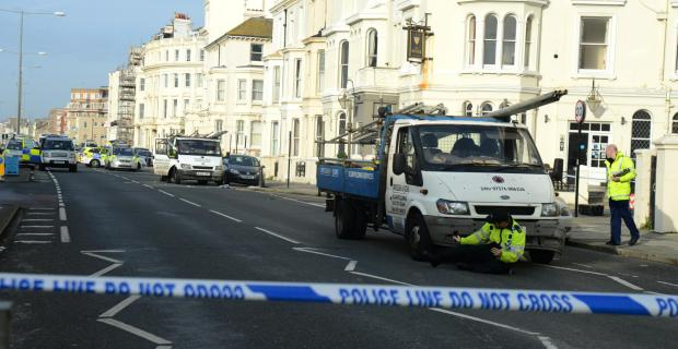 Police investigate after an accident involving a scaffolding lorry and a pedestrian in Kingsway, Hove, in October last year.