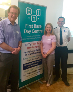 Katy Bourne, the Sussex Police and Crime Commissioner, with Chief Superintendent Nev Kemp (right) and me, at the launch of the Brighton and Hove Rough Sleeping Strategy
