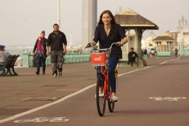 A Smartbike is tried out along Brighton seafront